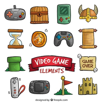 Cute video game hand drawn objects