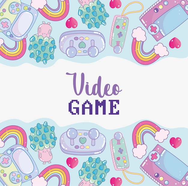 Симпатичная видеоигра Premium векторы