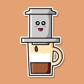 Милый вьетнамский кофе мультипликационный персонаж