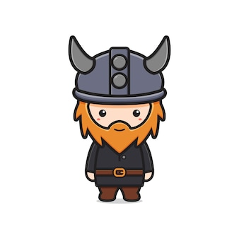 Cute viking mascot character cartoon icon illustration. design isolated flat cartoon style