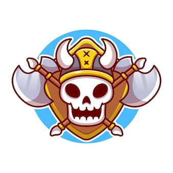 Cute viking skull with ax cartoon  illustration. viking  concept isolated . flat cartoon style