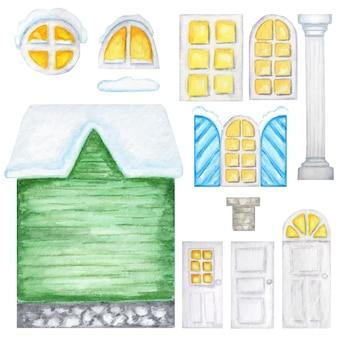 Милый деревенский зеленый дом, деревянные окна, конструктор дверей на белом фоне. фэнтезийная иллюстрация. набор акварельных элементов идеально подходит для создания дизайна вашего дома.