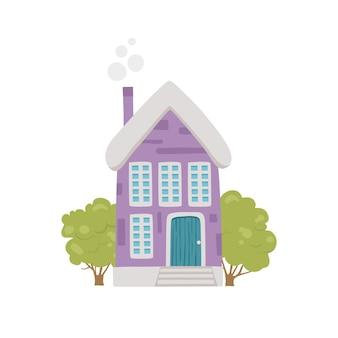 かわいい村の家のアイコン。白い背景で隔離のウェブデザインのかわいい村の家のベクトルアイコンの漫画
