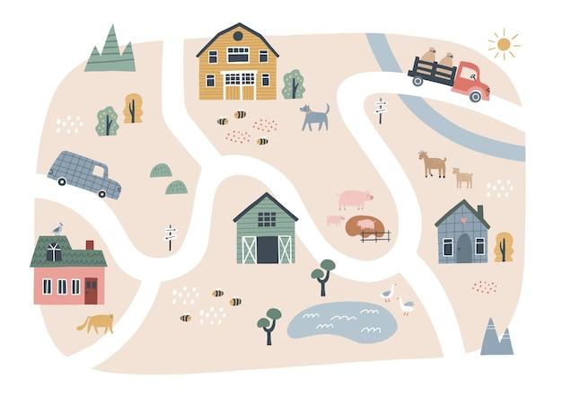 家や動物のかわいい村の地図。農場の手描きのベクトルイラスト。タウンマップクリエーター。