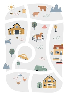 Cute village map with houses and animals. hand drawn vector illustration of a farm. town map creator.