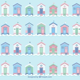 Cute vintage beach huts pattern