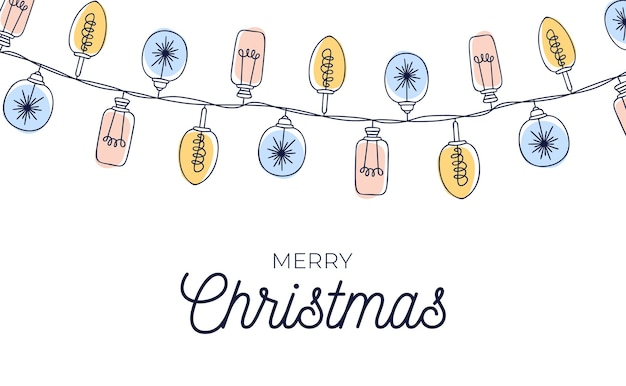 Cute vintage christmas card  with hand drawn light bulb garlands background.