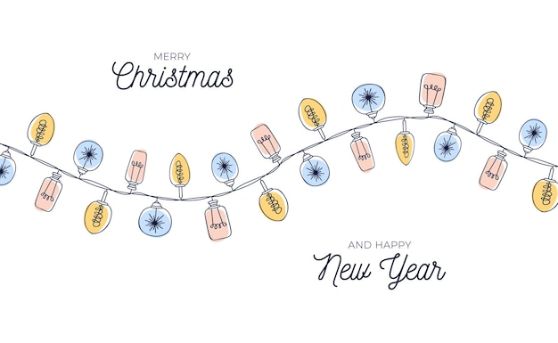 手描きの電球の花輪の背景を持つかわいいヴィンテージクリスマスカード。