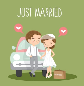 Cute vintage couple just married cartoon