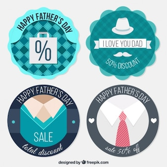 Cute and vintage discount father's day badges Free Vector