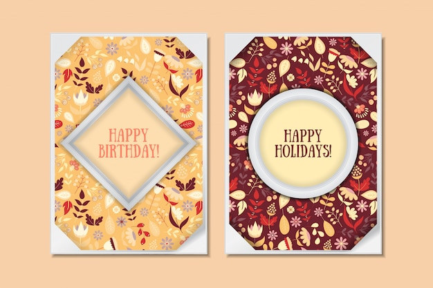 Cute vintage doodle floral cards set. collection for special holiday. greeting card or save the date or happy birthday with colorful flowers. vector illustration