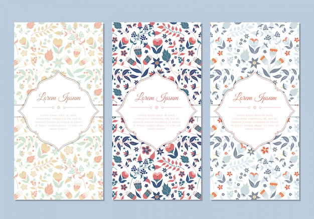 Cute vintage doodle floral cards set