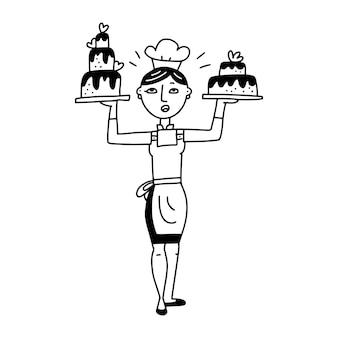 결혼식이나 생일 케이크 낙서 삽화를 들고 있는 귀여운 빈티지 여성 수석 요리사