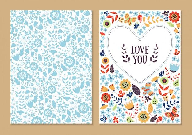 귀여운 빈티지 꽃 카드 세트