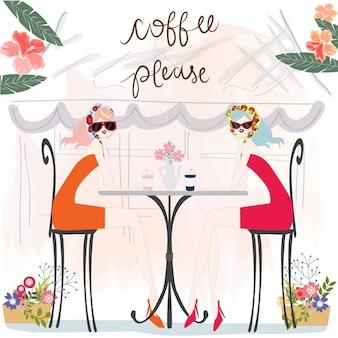 화창한 여름날 커피 숍에서 귀여운 빈티지 소녀