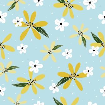 シームレスなかわいいヴィンテージ手描き花パターン