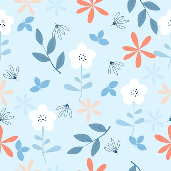 Cute vintage hand drawn flowers seamless pattern background