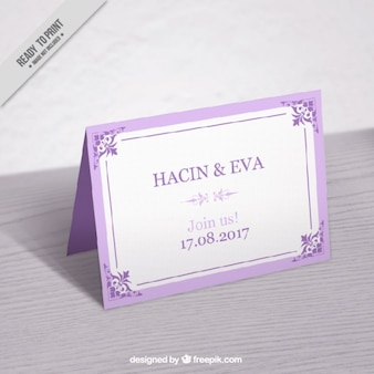 Cute vintage lilac wedding card mockup