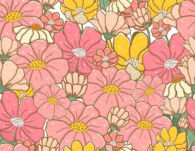 Cute vintage pastel color doodle flower pattern seamless background