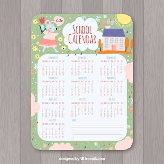 Cute vintage school calendar
