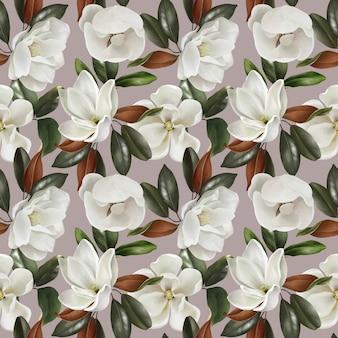 マグノリアの花と葉を持つかわいいヴィンテージのシームレスパターン