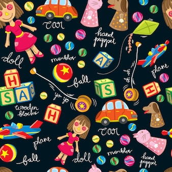 Cute vintage toys background, suitable for wrapping paper