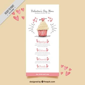 水彩カップケーキかわいいヴィンテージバレンタインメニュー