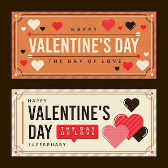 Cute vintage valentine's day banners