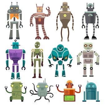Cute vintage vector robot icons and characters