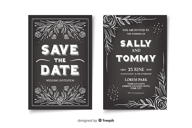 Cute vintage wedding invitation template on blackboard