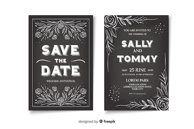 黒板にかわいいビンテージ結婚式招待状テンプレート