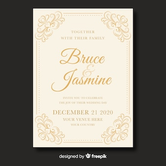 Cute vintage wedding invitation template