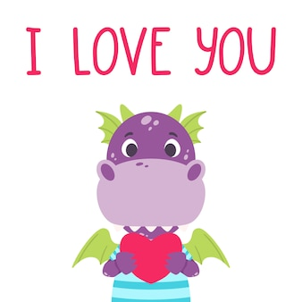 Cute violet dragon with heart and hand drawn lettering quote - i love you. valentines day greeting card.