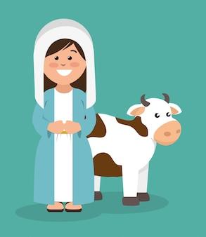 かわいい聖母マリアと牛