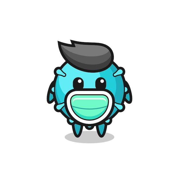Cute virus cartoon wearing a mask , cute style design for t shirt, sticker, logo element