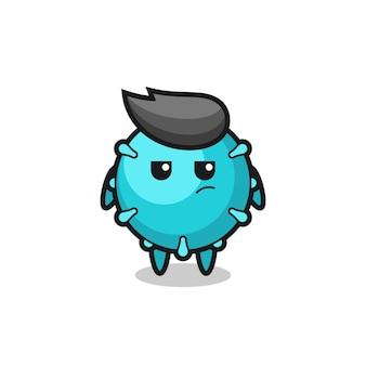의심스러운 표정을 가진 귀여운 바이러스 캐릭터, 티셔츠, 스티커, 로고 요소를 위한 귀여운 스타일 디자인