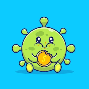 Cute virus eat coin money   icon illustration.