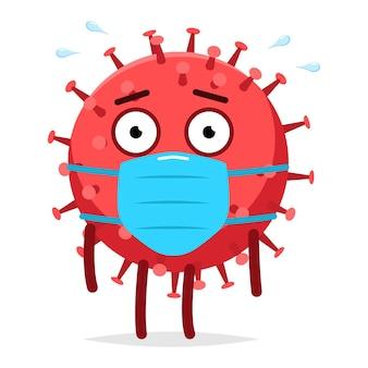 白い背景で隔離の医療マスクベクトル漫画のキャラクターのかわいいウイルス。 Premiumベクター