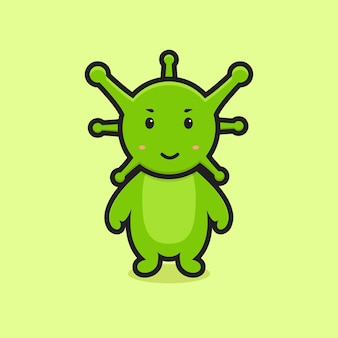Cute virus mascot character illustration. design isolated on yellow background.