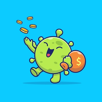 Cute virus with coin money   icon illustration.