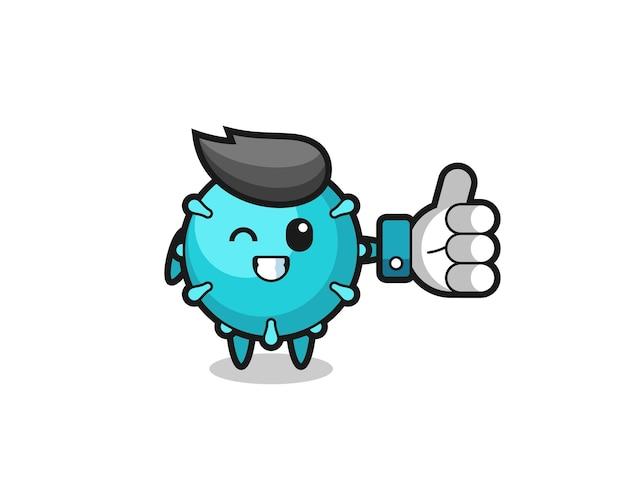 소셜 미디어 엄지손가락 기호가 있는 귀여운 바이러스, 티셔츠, 스티커, 로고 요소를 위한 귀여운 스타일 디자인
