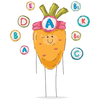 Cute vitamin a cartoon carrot character isolated on a white background.