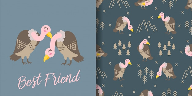 Cute vulture cartoon animal seamless pattern with illustration card set