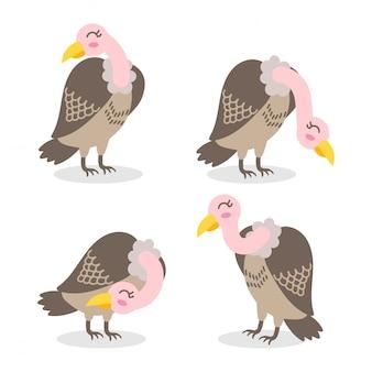 귀여운 독수리 만화 요소 세트