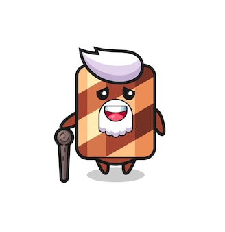 Cute wafer roll grandpa is holding a stick , cute style design for t shirt, sticker, logo element