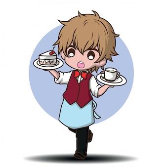 Cute waiter restaurant serving cartoon