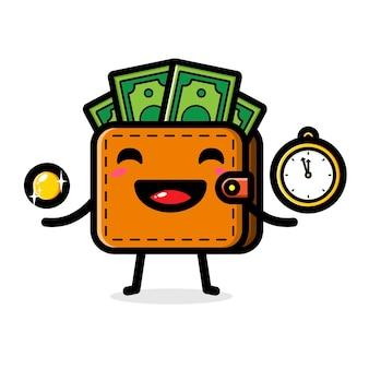 귀여운 지갑 시간의 개념은 돈이다