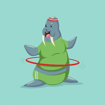 Cute walrus cartoon character doing exercises with hula hoop