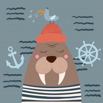 Cute walrus characters.