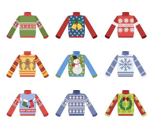 겨울 날씨 세트 귀여운 따뜻한 크리스마스 스웨터. 크리스마스 풀오버 또는 점퍼 컬렉션. 휴일 아늑한 복장. 만화 스타일의 그림입니다.